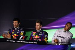 The top three qualifiers in the FIA Press Conference, Red Bull Racing, second; Sebastian Vettel, Red