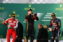 Felipe Massa, Ferrari ; Jenson Button, McLaren ; Fernando Alonso, Ferrari