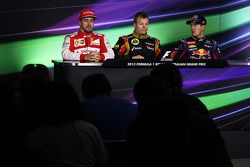 The FIA Press Conference, Ferrari, second; Kimi Raikkonen, Lotus F1 Team, race winner; Sebastian Vettel, Red Bull Racing, third
