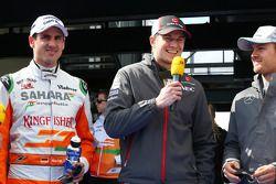 (L to R): Adrian Sutil, Sahara Force India F1 with Nico Hulkenberg, Sauber and Nico Rosberg, Mercedes AMG F1