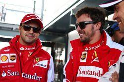 (L to R): Felipe Massa, Ferrari with Fernando Alonso, Ferrari and Pastor Maldonado, Williams