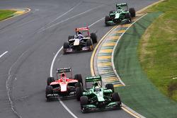 Giedo van der Garde, Caterham CT03 leads Jules Bianchi, Marussia F1 Team MR02