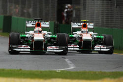 Paul di Resta, Sahara Force India VJM06 y Adrian Sutil, Sahara Force India VJM06