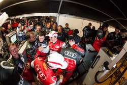 Race winners Oliver Jarvis and Marcel Fässler celebrate with their team