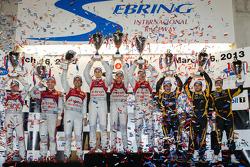 P1 podium: class and overall winner Marcel Fässler, Benoit Tréluyer, Oliver Jarvis, second place Lucas di Grassi, Tom Kristensen, Allan McNish, third place Nicolas Prost, Nick Heidfeld, Neel Jani