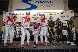 P1 podium: class and overall winner Marcel Fässler, Benoit Tréluyer, Oliver Jarvis, second place Luc