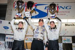 P2 podium: class winners Scott Tucker, Marino Franchitti, Ryan Briscoe