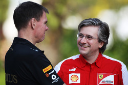 Alan Permane, Renault Race Engineer with Pat Fry, Ferrari Deputy Technical Director and Head of Race Engineering