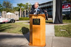 Dan Wheldon Memorial and Victory Circle unveiling ceremony: T.E. McHale, motorsports manager for American Honda