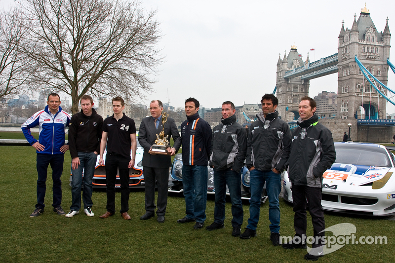 From left: Stéphane Sarrazin, John Martin, Ben Cussons, Alex Brundle, Darren Turner, Danny Watts, Nick Leventis and Jonny Kane