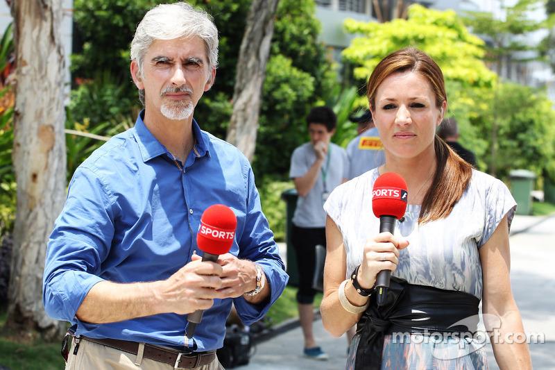 Damon Hill, Sky Sports-presentator met Natalie Pinkham, Sky Sports-presentator