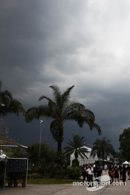 Escuras nuvens de chuva sobre o circuito
