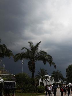 Dark rain clouds over the circuit