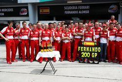 Fernando Alonso, Ferrari fête son 200e GP avec Ferrari