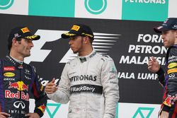 Podium: second place Mark Webber, Red Bull Racing, third place Lewis Hamilton, Mercedes AMG F1