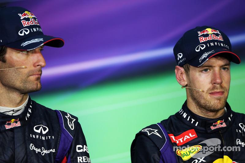 The post race FIA Press Conference, Mark Webber, Red Bull Racing, second; Sebastian Vettel, Red Bull