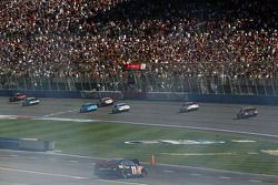 Denny Hamlin, Joe Gibbs Racing Toyota comes to a rest after crashing on last lap