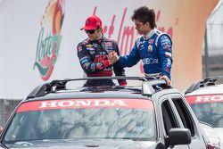 Marco Andretti, Andretti Autosport Chevrolet en Sebastian Saavedra, Dragon Racing Chevrolet