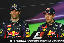 The post race FIA Press Conference, Mark Webber, Red Bull Racing, second; Sebastian Vettel, Red Bull