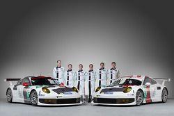 Йорг Бергмайстер, Тимо Бернхард, Марк Либ, Ромен Дюма, Патрик Пиле и Рихард Лиц. Презентация Porsche