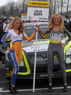 RCIB Insurance Racing Grid Girls to Jack Goff
