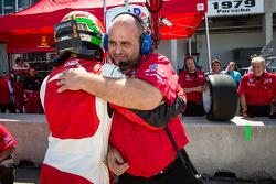 GT pole winner Gianmaria Bruni celebrates