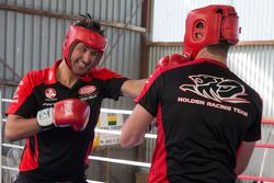 Garth Tander and Fabian Couthard practice boxing with World Middleweight Boxing Champion Daniel Geal
