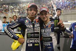 Race winner Jorge Lorenzo, Yamaha Factory Racing, second place Valentino Rossi, Yamaha Factory Racin