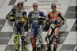 Podium: race winner Jorge Lorenzo, Yamaha Factory Racing, second place Valentino Rossi, Yamaha Facto