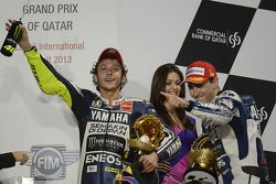 Race winner Jorge Lorenzo, Yamaha Factory Racing, second place Valentino Rossi, Yamaha Factory Racin