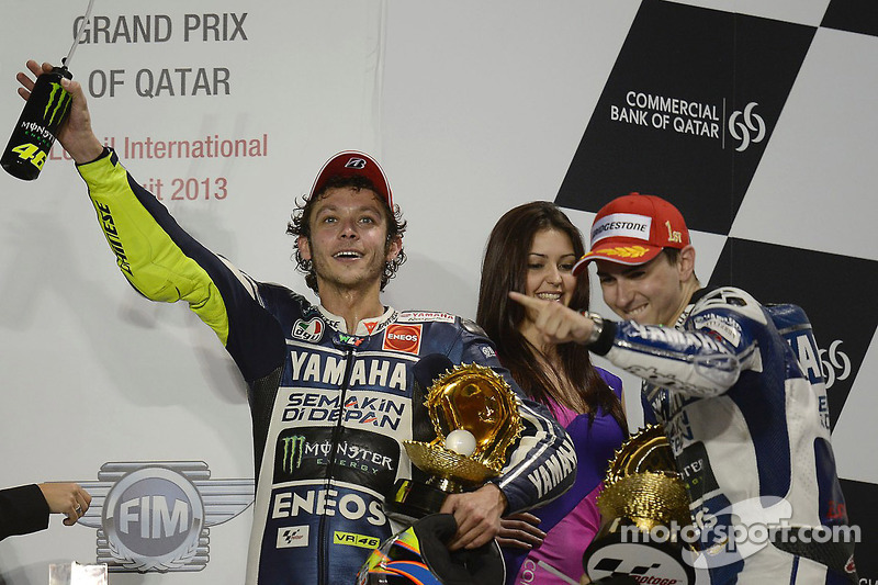 Валентино Росси, Хорхе Лорнецо и Марк Маркес. ГП Катара, воскресенье, после гонки.