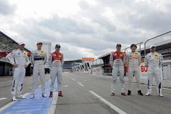 Groepsfoto: Joey Hand, BMW Team RBM, Christian Vietoris, Team HWA, Jamie Green, Audi Sport Team Abt