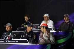 Adrian Sutil, Sahara Force India F1; Nico Hülkenberg, Sauber; Nico Rosberg, Mercedes AMG F1; Mark Webber, Red Bull Racing; Sergio Pérez, McLaren