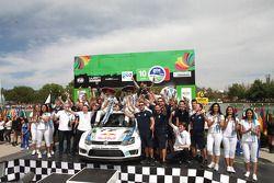 El podio, Sebastien Ogier, Julien Ingrassia, Volkswagen Polo WRC