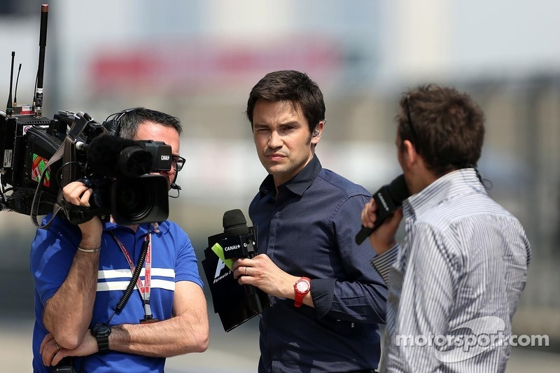 Thomas Senecal, Canal+ F1 Chief Editor and TV Presenter with Frank Montangy, Canal+ TV Presenter