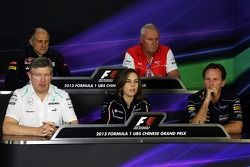 Franz Tost, Scuderia Toro Rosso ; John Booth, Marussia F1 Team ; Ross Brawn, Mercedes AMG F1 ; Claire Williams, Williams ; Christian Horner, Red Bull Racing