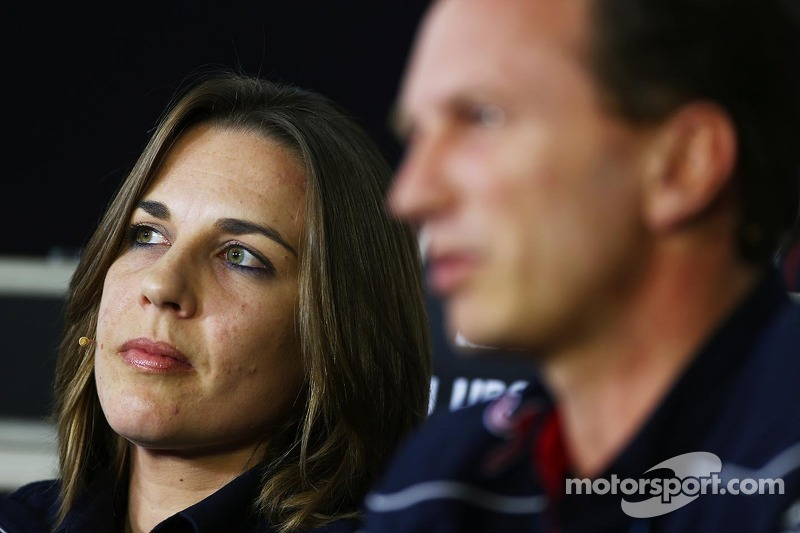 Claire Williams, Adjunct-teambaas Williams en Christian Horner, Teambaas Red Bull Racing bij de FIA-persconferentie