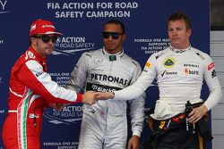 Pole position for Lewis Hamilton, Mercedes AMG F1 2nd for Kimi Raikkonen, Lotus F1 Team and 3rd for