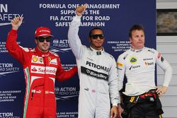 Fernando Alonso, Ferrari; Lewis Hamilton, Mercedes AMG F1; Kimi Räikkönen, Lotus F1 Team