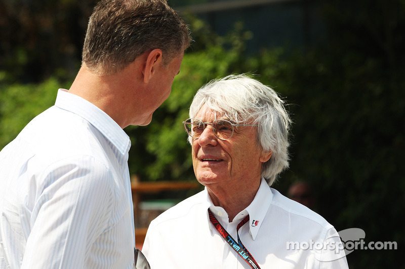 David Coulthard, Red Bull Racing en Scuderia Toro Advisor / BBC-commentator met Bernie Ecclestone, CEO Formula One Group