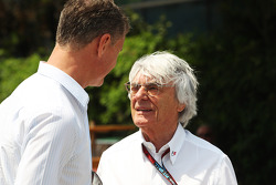 David Coulthard, Red Bull Racing and Scuderia Toro Advisor / BBC Television Commentator with Bernie Ecclestone, CEO Formula One Group
