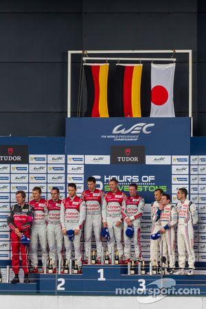 LMP1 Podium: First Place Tom Kristensen, Loic Duval, Allan McNish; Second Place Andre Lotterer, Beno