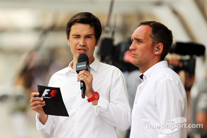 (L naar R): Thomas Senecal, Canal+ F1 Chief Editor en TV-presentator met Franck Montagny, Canal+-presentator