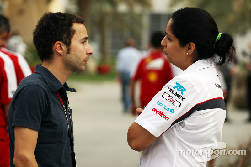 (L naar R): Nicolas Todt, Manager met Monisha Kaltenborn, Teambaas Sauber
