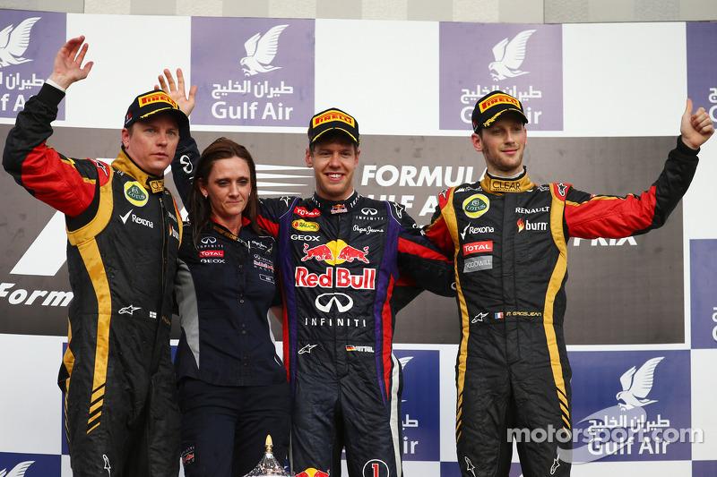 Podyum: Yarış galibi Sebastian Vettel, Red Bull Racing, 2. Kimi Raikkonen, Lotus F1 Team, 3. Romain