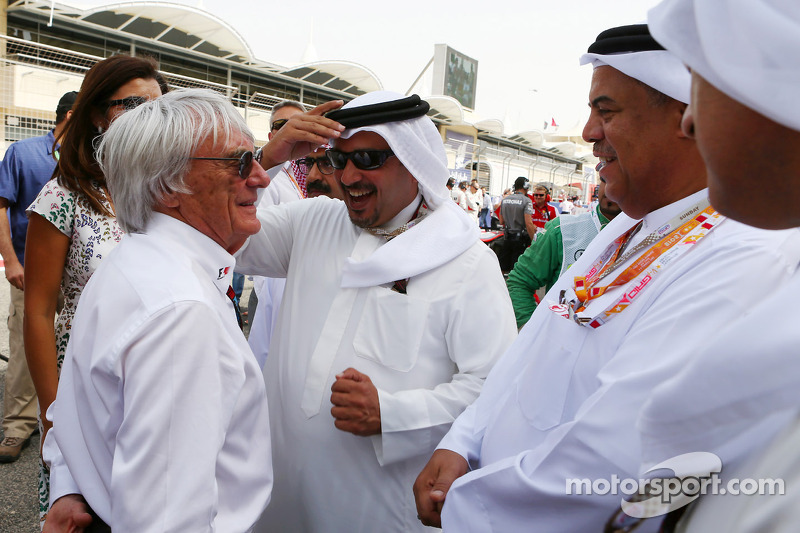 Bernie Ecclestone, CEO Formula One Group, met Prins Salman bin Hamad Al Khalifa, kroonprins van Bahr