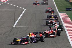 Sebastian Vettel, Red Bull Racing RB9 et Fernando Alonso, Ferrari F138