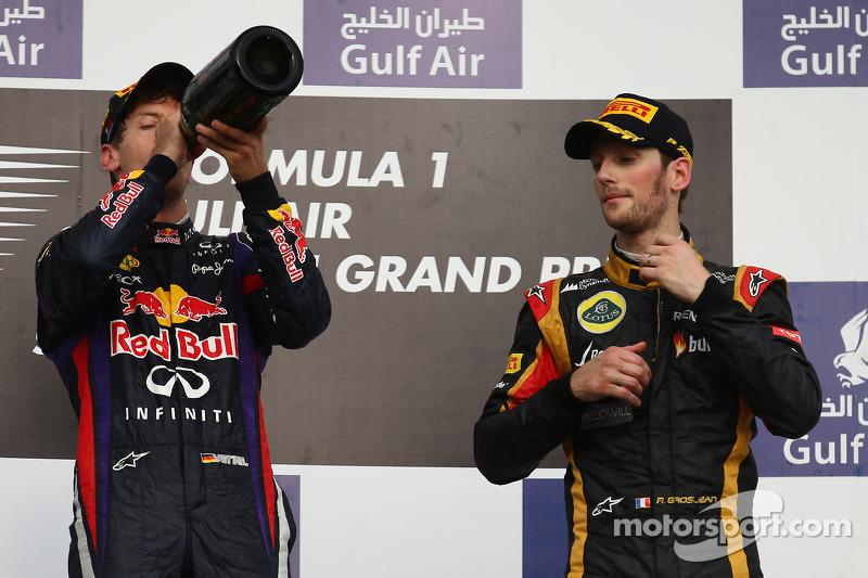 Sebastian Vettel, Red Bull Racing ve Romain Grosjean, Lotus F1 E21