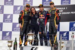 Podio: Kimi Raikkonen, Lotus F1 Team, Sebastian Vettel, Red Bull Racing, ganador de la carrera; Roma