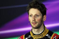 De als 3e gefinishte Romain Grosjean, Lotus F1 Team bij de FIA-persconferentie